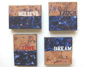 Original Acrylic Word Paintings on Canvas, Modern home decor, Custom grouping, Set of 4