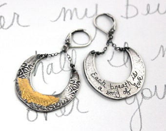 crescent moon earrings . sterling silver 23k yellow gold rumi quote earrings . dangle earrings . inspirational jewelry . ready to ship gift