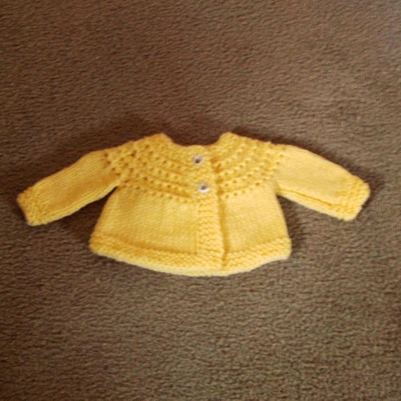 Hand Knitted - Yellow Hand Knitted Baby Sweater