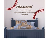 BASEBALL QUOTE with Stitching - Best Game in World - Large size - Baseball room - Boy Room
