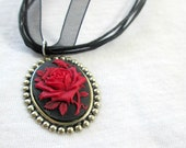Red and Black Rose Cameo Necklace Gothic Lolita Cosplay Necklace
