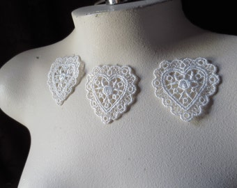 3 Ivory Heart Appliques Small size  for Bridal, Garters, Headbands, Scrapbooking,  Crafts