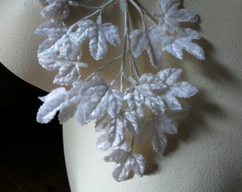 Off White Velvet Leaves Vintage Japanese for Bridal, Headpieces, Headbands, Boutonnieres, Bouquets, Millinery ML 48