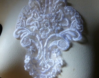 SALE WHiTE Beaded Applique for Ballet, Bridal, Costumes, Headpieces WA 708
