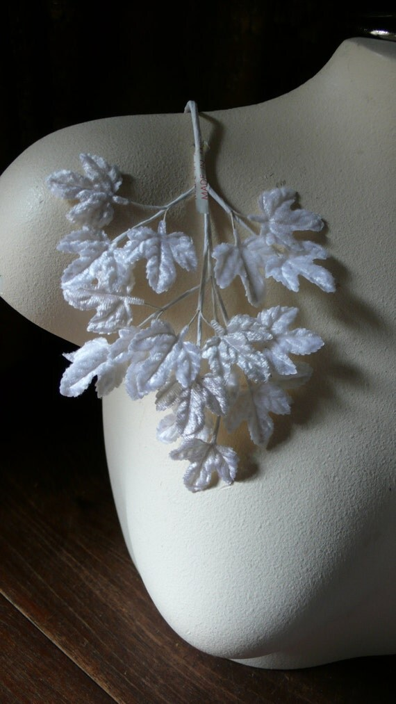 Velvet Leaves Off White Vintage Japanese for Bridal, Headpieces, Headbands, Boutonnieres, Bouquets, Millinery ML 48
