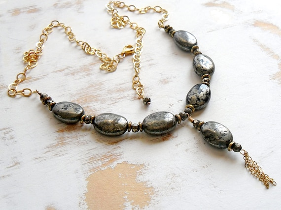 Pyrite Necklace on Golden Chain, Statement Jewelry