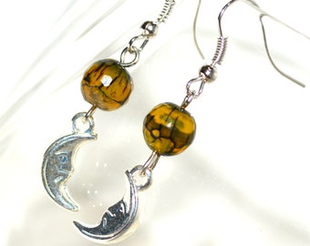 Olive Green dragon Veins Bead with Moon Charm Earrings