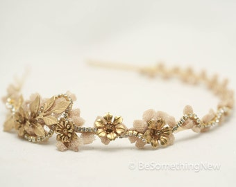 Vintage Lace and Gold Rhinestone Headband Tiara with Gold Leaves and Vintage Metal Flowers, Wedding Hair, Headpiece, Wedding Hair Accessory