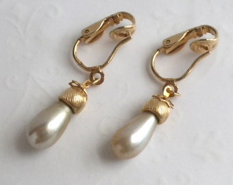 Gold and Taupe Faux Pearl Drop Clip Back Earrings