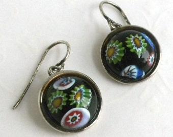 Silver Millifiori Glass Pierced Dangle Earrings - Black Glass with green blue red