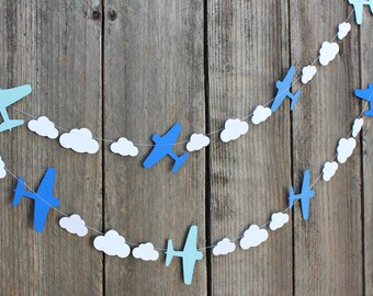 Airplane and clouds paper Garland - custom colors available - great for Disney Planes party, Aviation themes