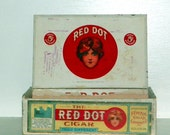 Vintage 1890s Red Dot Wooden 5 Cent Cigar Box - Federal Cigar Co. Red Lion, PA - Good Condition