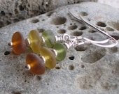 Natural Sea Glass Sterling Silver Earrings Autumn Colors (632)