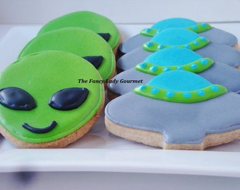 Alien and UFO cookies 1 dozen