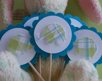 Lime Green Plaid and Turquoise Elephant Cupcake Topper Picks -- Set of 6 --Baby Shower-First Birthday-Boy-Girl-Elephant Party-Ready to Ship