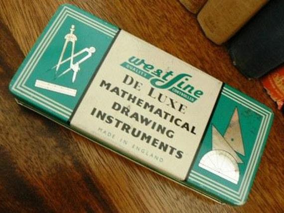 vintage office funk ...  WESTLINE brand MATHEMATICAL Instrument set tin metal GEOMETRY Set  ...