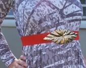 Vintage 80's Belt Red Stretchy Leaf Belt