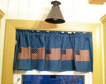 Handmade Blue Denim Flag Valance