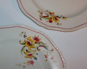 2 Gold Lily Breakfast Plates