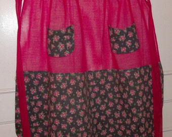 1950s Red Organza and Cotton Calico Apron