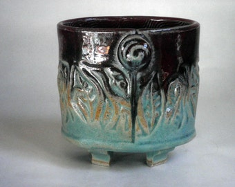 handmade Stoneware Pot, footed, small, Turquoise and RED