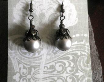 Victorian Champagne Pearl Earrings, pierced dangle