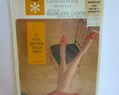 1960s Sears Stockings NIP SZ 10-11 Tall Sandstone DuPont Nylon Made in USA