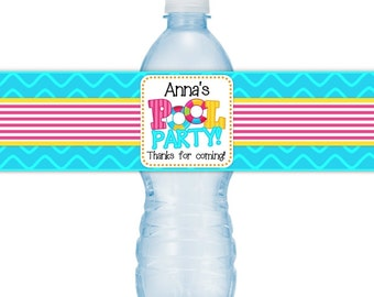 Custom Birthday Water Bottle Labels, Pool Party Birthday Water Bottle Labels, Pool Party Water Bottle Labels, Fit on 16.9 oz water bottles