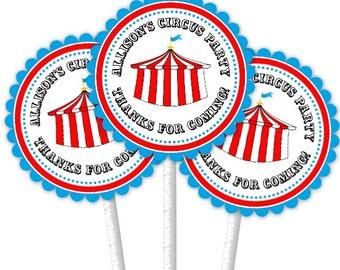 24 Carnival Cupcake Toppers, Circus Cupcake Toppers, Custom Cupcake Toppers, Birthday Cupcake Toppers