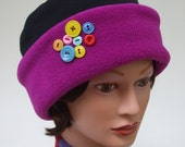 Women's Winter Fleece Hat in Magenta + Black with Bright Buttons, Reversible, Premium Fabrics, Ultra Soft, Stretchy, Warm, Women Medium