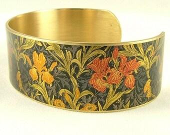 Flower Cuff Bracelet - Flower Jewellery - Iris William Morris - Boho Jewelry - Rustic - Birthday Gift - Flowers - Textile - Gifts For Women