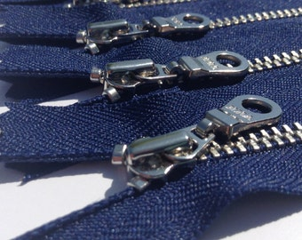 YKK metal zippers with silver nickel teeth and donut style pull- (5) pieces - Navy 919- Available in 6 and 9 Inches