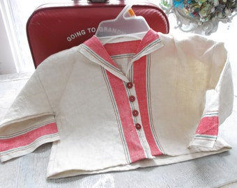 Baby jacket,  vintage french Grain sack,  tea towel ticking,Baby clothes, Shower gift