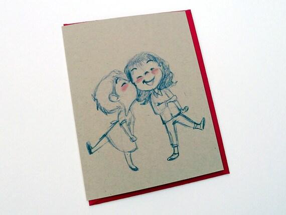 Sweet Kisses Greeting Card - valentines day // anniversary // love // lesbian // gay // wedding