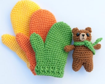 PDF Crochet pattern - Children's Gifting Mittens and Amigurumi Bear