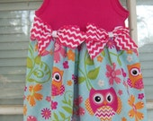 For Libby Tank Top Dress infant and Toddler Size Owl flower fabric pink chevron bows Playtime Dressy Casual swirly skirt  modern