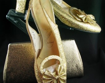 "1970 Italian ""Ferrano"" gold lame shoes and bag"