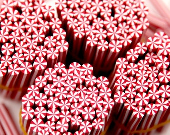 Clay Canes - 5mm Tiny Candy Cane Peppermint Red and White Stripe Swirl Clay or Fimo Sticks Cabochons - for nails or decoden - 12 pc set
