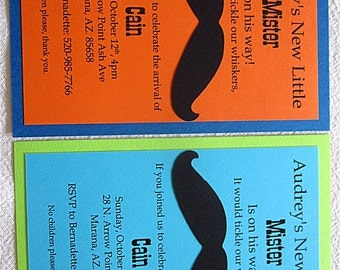 Mustache Little Mister Baby Shower Invitations