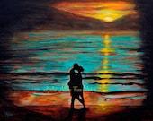 "Couple ART PRINT GICLEE Couple Wall Art Ocean Waves Sunset Abstract Love Romantic Loving True Love ""Ocean Romance"" Leslie Allen Fine Art"