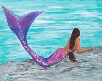 """Mermaid Art Print Mermaids Wall Art Mermaid Print Decor Mermaid Bathroom Decor  Wall Art """"Perfect Mermaid Retreat"""" Leslie Allen Fine Art"""