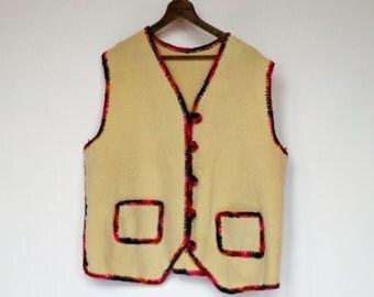 80's Wool Vest / Button Front / Natural Color / Yarn Embellished Edges / XLarge