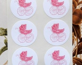 Stickers Envelope Seals Baby Boy Girl Pram Carriage Baby Shower Stickers SB003