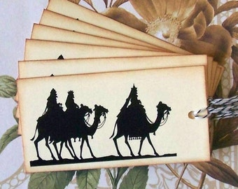 Christmas Gift Tags Three Wise Men Vintage Style Handmade Party Favor Treat Bag Tag TC015