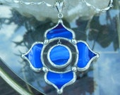 Deep Cobalt Blue Lotus Necklace