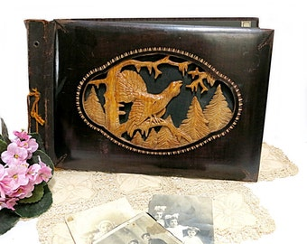 Antique Wood Carved Photo Album Scrapbook  Never Used German Late 1800s
