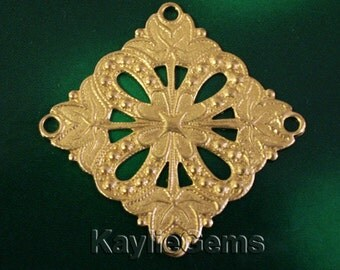 Filigree Stamping Square Connector Finding Art Nouveau Baroque Victorian Raw Brass -FI-R3851 - 2pcs