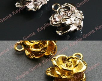 Rose Flower Charm Pendants Gold / Silver Plated Over Brass - 2pcs