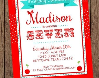 Cherry Birthday Invitations - 1.00 each with envelope