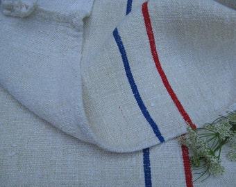 Nr. 713: antique grain sack cushion tablerunner upholstery RED BLUE wedding decor classy and elegant